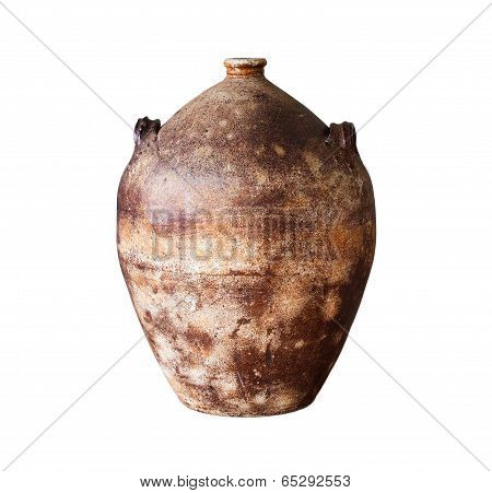Clay Jug On A White Background,