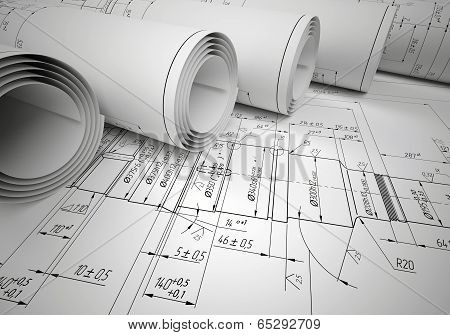 Several scrolls engineering drawings