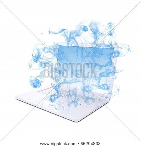 Open white laptop emits blue smoke