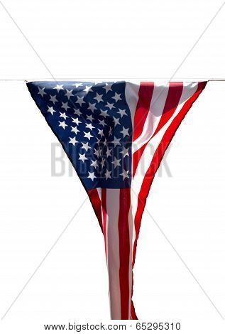 Limp American Flag Without Wind On White Background