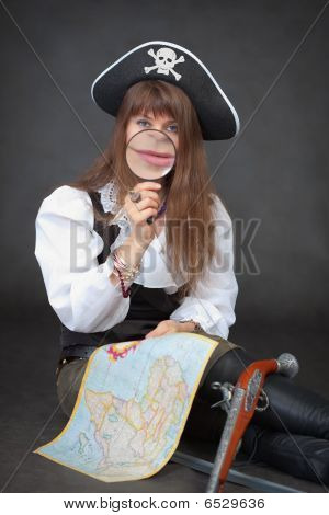 Woman - Captain Of Sea Pirates With Map And Magnifier In Hands