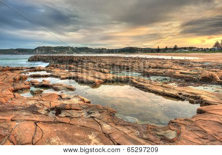 North Avoca Rock Pools At Sunset
