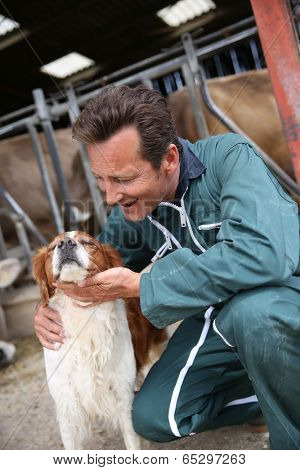 Breeder petting dog outside the barn