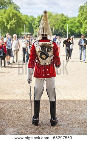 ONDON, UK - MAY 14, 2014  -  Member of the Queen s Horse Guard on duty  Horse Guards Parade, London