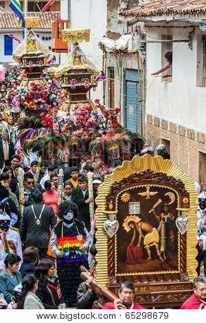 PISAC, PERU - JULY 16, 2013: Virgen del Carmen parade in the peruvian Andes