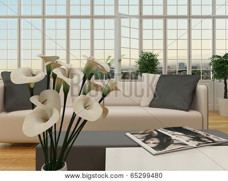 Nice cottage pane interior with window and white couch