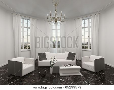 Luxury living room interior with bay window, chandelier and white couch