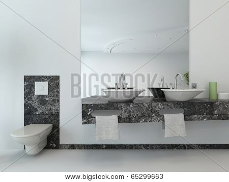 White bathroom interior with vanity and hand basin