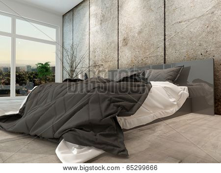 Modern high volume apartment bedroom interior with a large double bed with black and white duvets in a grey-toned minimalist room with a large view window