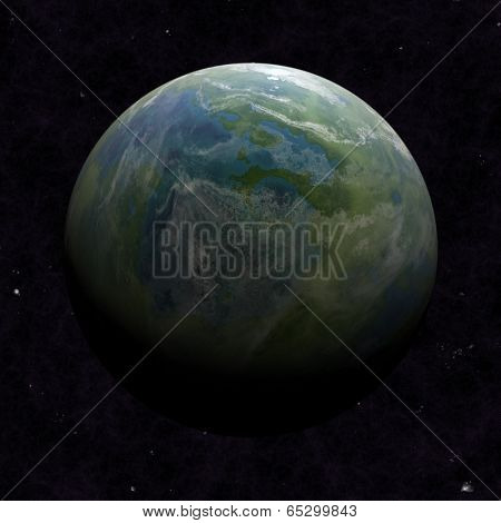 Hemisphere satellite view of a planet earth from outer space