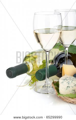 White wine, cheese and grape. Closeup. Isolated on white background