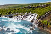 picture of incredible  - Hraunfossar is a very beautiful Icelandic waterfall in the west of the island - JPG