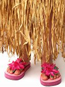 picture of hawaiian girl  - bottom half of a girl wearing a grass hula skirt and pink flowered flip flop sandals