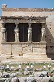 stock photo of akropolis  - Caryatids in Erechtheum from Athenian Acropolis Greece - JPG