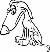 pic of emaciated  - Black and White Cartoon Illustration of Poor Sad Homeless Dog for Coloring Book - JPG