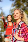 picture of natural blonde  - Woman hiker portrait in forest - JPG
