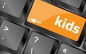 picture of keyboard keys  - kids key button in a computer keyboard - JPG