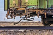 pic of boxcar  - a rail car for livestock transportation or train end on a sidetrack in Colorado farmland - JPG