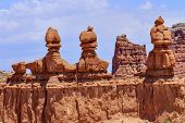 stock photo of hoodoo  - Three Sisters Hoodoos Goblin Valley State Park Rock Canyon San Rafael Desert Utah USA Southwest - JPG