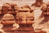 stock photo of hoodoo  - Mushroom Shaped Hoodoos Goblin Valley State Park Rock Canyon San Rafael Desert Utah USA Southwest - JPG