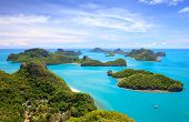 stock photo of bird paradise  - Bird eye view of Angthong national marine park koh Samui Suratthani Thailand - JPG