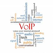 stock photo of voip  - VOIP Word Cloud Concept with great terms such as voice internet protocol and more - JPG