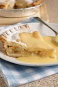 foto of custard  - Apple pie and custard a popular dessert - JPG