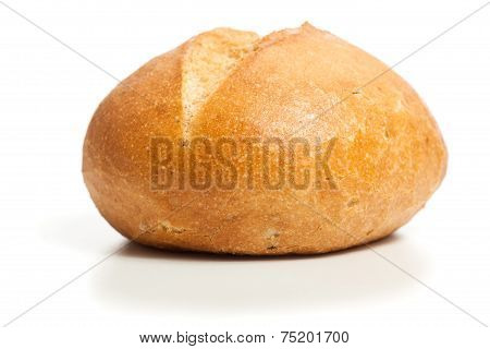 Natural Bread Roll, Cutout, Isolated On White