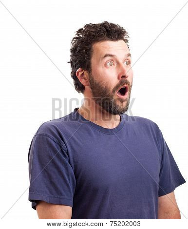 Portrait Of Surprised Bearded European Man
