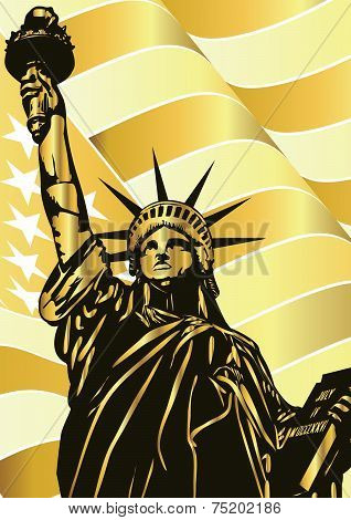 Statue of Liberty and golden american flag - vectorDsc_0660_silueta_4Regular_flag_3
