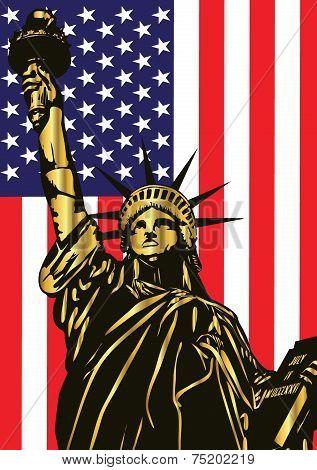 Statue of Liberty and american flag - vectorDsc_0660_silueta_4Regular_flag_2