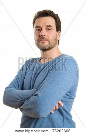 Mature Caucasian Man In Casual Clothing, Isolated On White, Arrogant