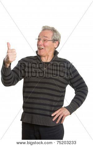 Senior Caucasian Man Portrait Series Discussing