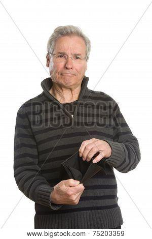 Senior Caucasian Man Portrait Series With Empty Wallet