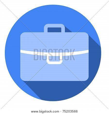 Case Flat Blue Simple Icon With Long Shadow, Isolated On White Background