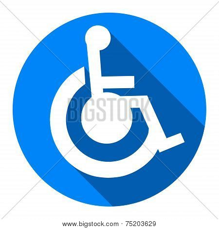 Cripple Flat Blue Simple Icon With Long Shadow, Isolated On White Background