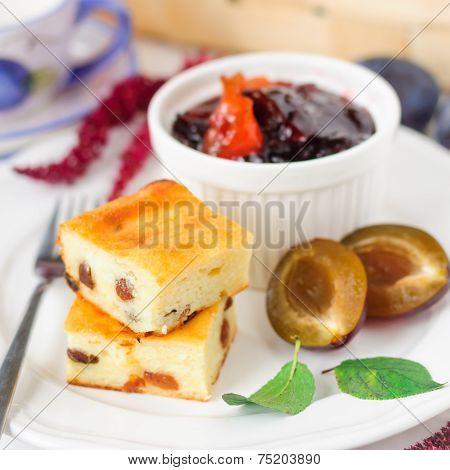 Breakfast: Cheesecake, Plums Amd Plum And Orange Jam