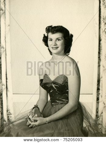 CANADA - CIRCA 1940s: Vintage photo shows studio portrait of a woman.