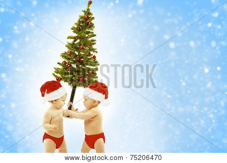 Christmas Baby Kids Greeting Present Xmas Tree, Children In Red Santa Hat Giving Fir, New Year Gift