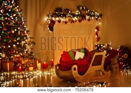 Christmas Sleigh With Bag, Sledge Sack Full Of Letters, Xmas Kids Mails, Wishes List Delivery Santa
