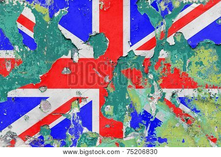 Grunge British, United Kingdom Flag with Flaking Paint. - A manipulated photograph with some illustration elements.