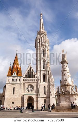 BUDAPEST, HUNGARY - OCT 21 2014 : Visitors gather at the 14th century Matthias Church entrance.