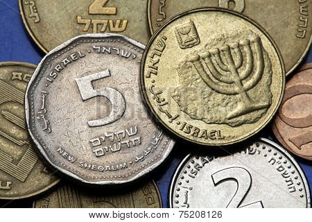 Coins of Israel. Menorah depicted in the Israeli ten agorot coin and the Israeli five agorot coin.