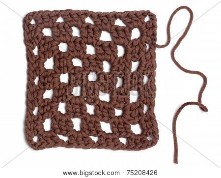 Crochet Doily - Brown Granny Square