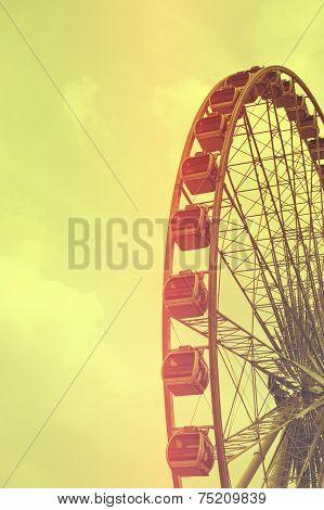 Ferris Wheel Silhouette vintage tone background