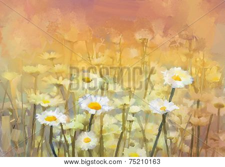 Vintage Oil Painting Daisy-chamomile Flowers Field
