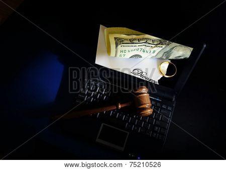 Judge Gavel On Laptop