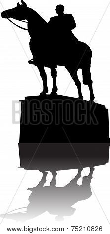 Serbian Warrior ridding a horse monument vector