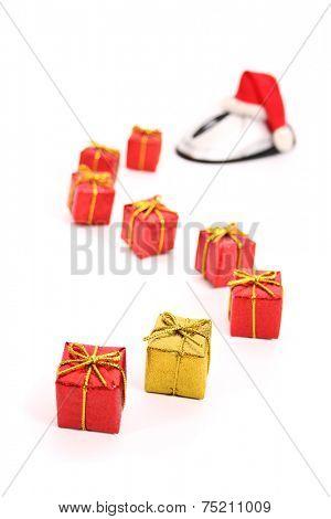 Christmas e-commerce scene isolated on white background.