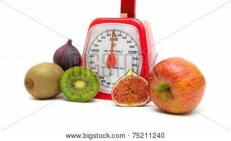 Ripe Fruits And Kitchen Scales Isolated Close Up On White Background